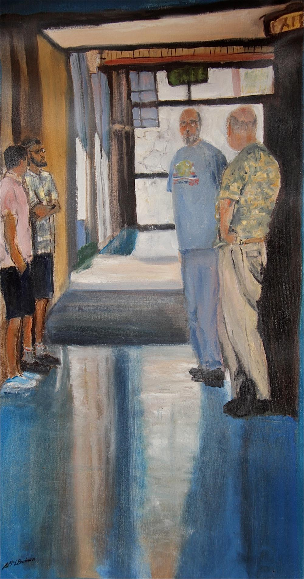 """Guys in the Hall"", oil on canvas, 14"" x 27"""