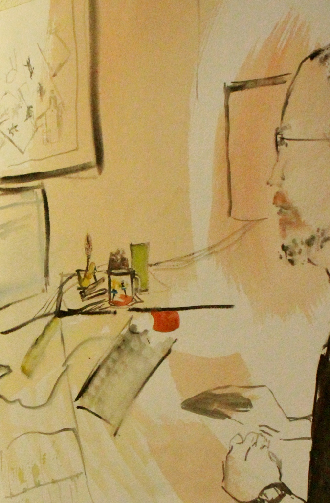 """Watercolour sketch of Director Christian at his desk"", watercolour, 18"" x 24"""