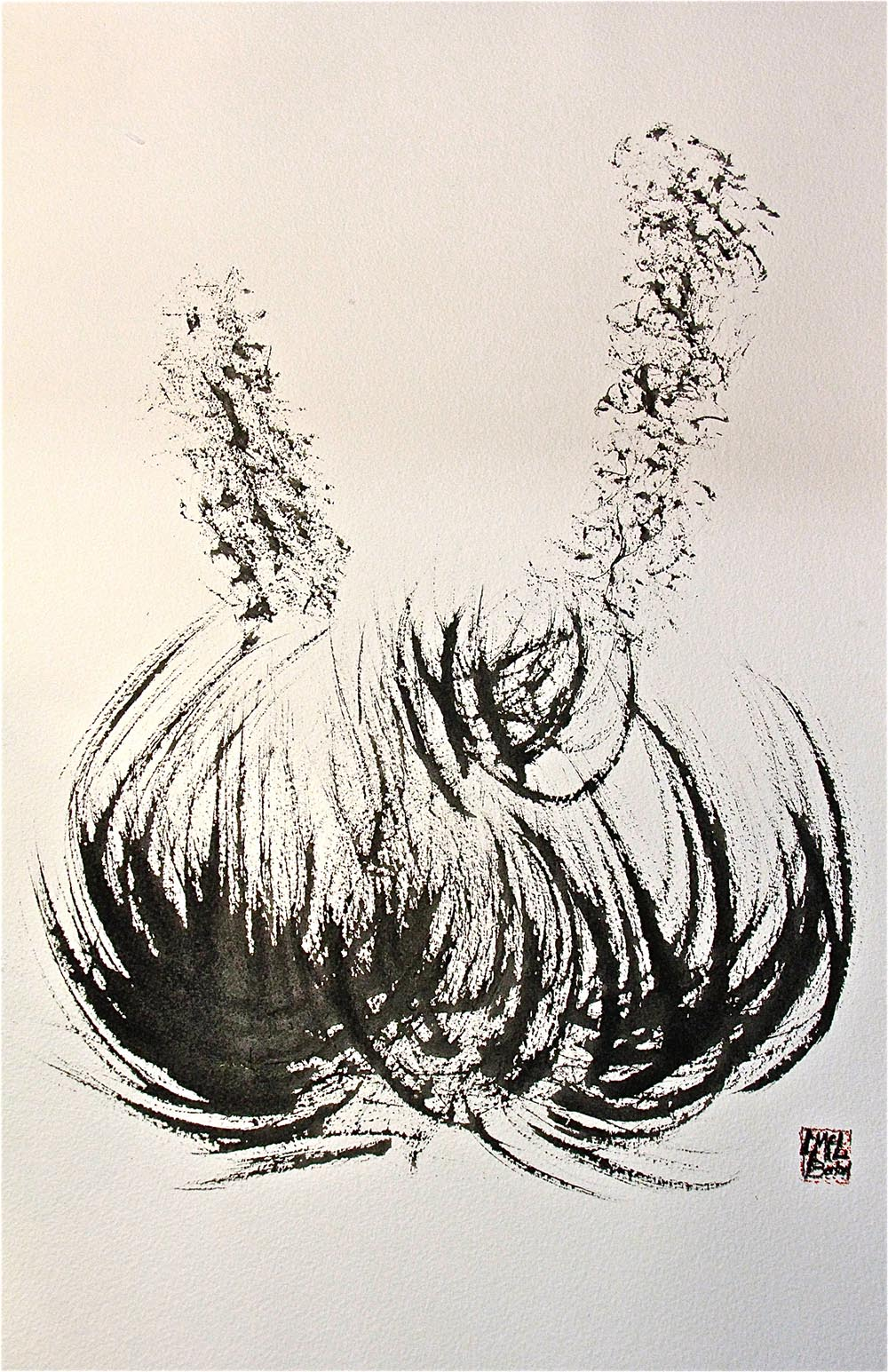 """Silversword Sumi-e"", ink on paper, 18"" x 24"""